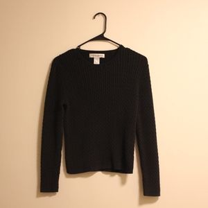 Jones New York Black Cable Knit Sweater PS